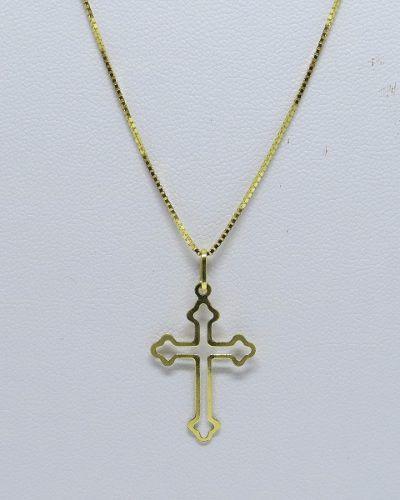 Cordão Corrente Veneziana 60cm Fina Crucifixo Vazado Ouro 18k 750