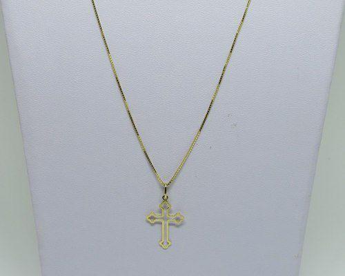 Cordão Corrente Veneziana 60cm Pingente Cruz Crucifixo Ouro 18k