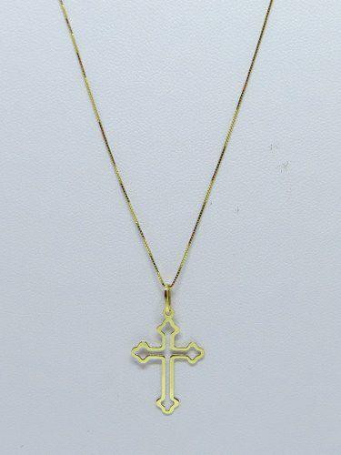 Corrente Veneziana Fina 60cm Crucifixo Ouro 18k 750