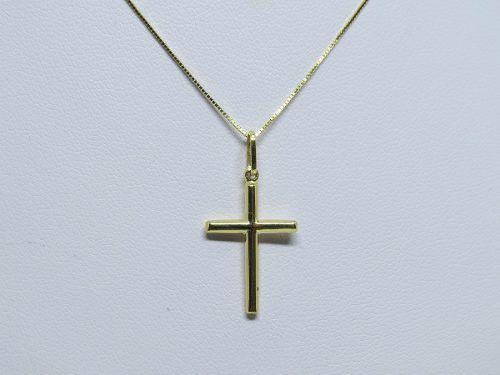Corrente Veneziana 45cm Pingente Crucifixo Ouro 18k 750