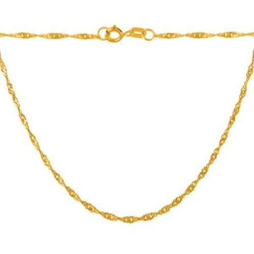 Corrente Colar Singapura 40cm Em Ouro 18k 750