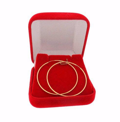 Brinco Argola Redonda Grande 6cm Ouro 18k 750