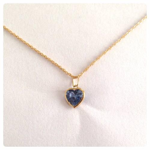 Corrente Singapura 40cm Pingente Coração Azul Aquamarine Ouro 18k 750