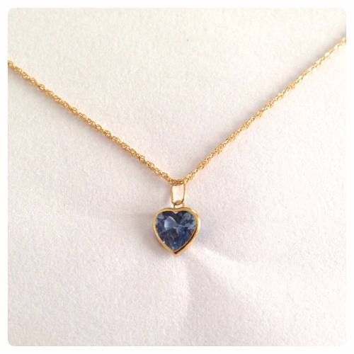 Corrente Singapura 45cm Pingente Coração Azul Aquamarine Ouro 18k 750