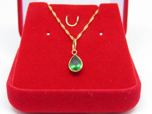 Corrente Singapura 60cm Pingente Gota Verde Esmeralda Ouro 18k 750