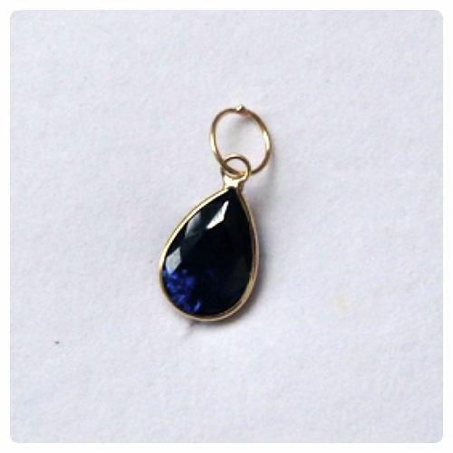 Corrente Singapura 45cm Pingente Gota Azul Safira Ouro 18k