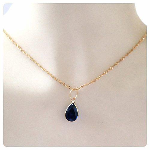 Corrente Singapura 50cm Pingente Gota Azul Safira Ouro 18k 750