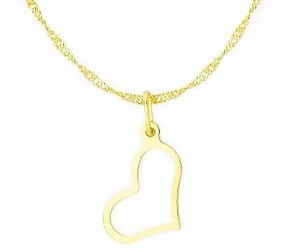 Corrente Singapura 45cm Pingente Coração Vazado Ouro 18k 750