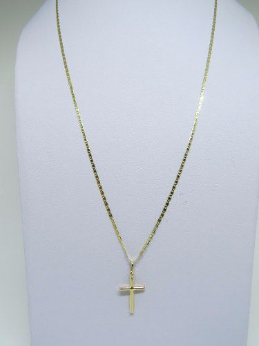 Corrente Cordão Colar Piastrine 45cm E Pingente Cruz Crucifixo De Ouro 18k 750