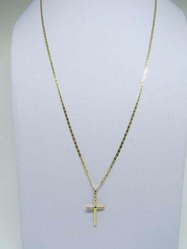 Corrente Cordão Piastrine 60cm E Pingente Crucifixo Cruz De Ouro 18k 750