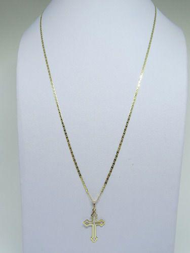 Cordão Corrente Piastrine Média 60cm  + Crucifixo Ouro Vazado 18k  750