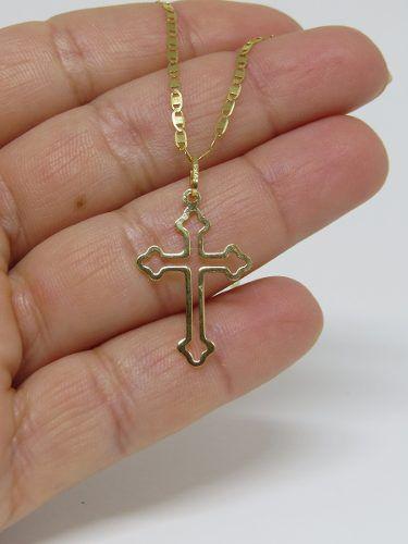 Corrente Piastrine Média 50cm Pingente Crucifixo Vazado Ouro 18K 750