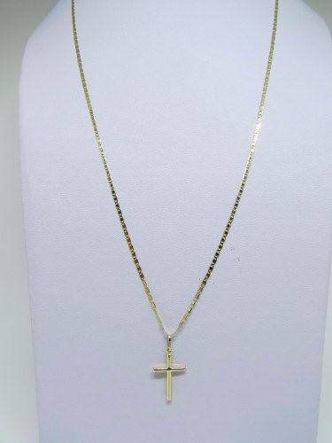Corrente Piastrine 70cm 1.4mm 2.7g Pingente Crucifixo Ouro18k 750