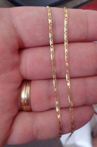Corrente Piastrine Média 60cm Pingente Crucifixo Grande Ouro 18k 750