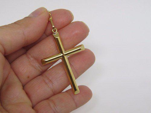 Cordão Corrente Piastrine 60cm Pingente Crucifixo Grande De Ouro 18k 750