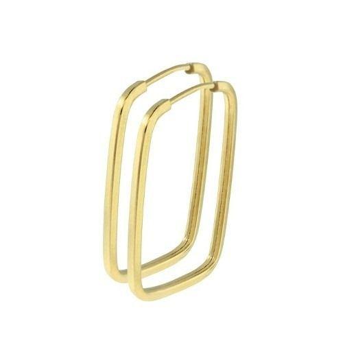 Brinco Argola Quadrada Retangular 2.7cm Em Ouro 18k 750