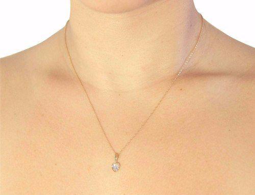 Pingente Coração Branco Pedra Argola Reforçada Ouro 18k 750