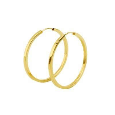 Brinco De Argola Redonda 1.7cm Fio Quadrado Em Ouro 18k-750
