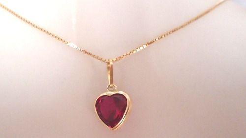 Cordão Corrente Veneziana 45cm Pingente Coração Vermelho Rubi Ouro 18k 750