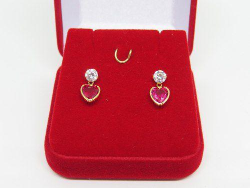 Brinco Pedra Coração Vermelho Rubi Ouro 18k 750