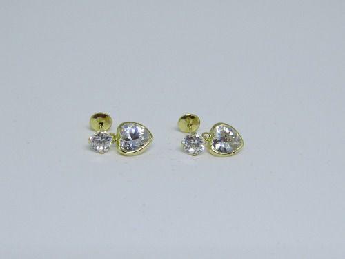 Brinco Pedra Coração Branco Ouro 18k 750