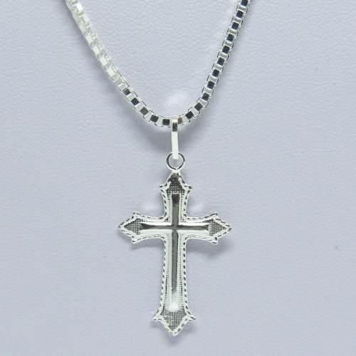Corrente Cordão Veneziana 50cm 2.5mm Pingente Crucifixo Prata 925