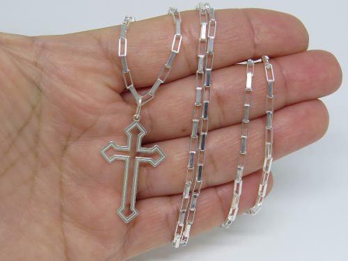 Corrente Cordão Masculino Prata 70cm Pingente Crucifixo Laser Vazado Prata 925 Cadeado