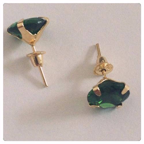 Brinco De Ouro 18k Pedra Verde Esmeralda Zircônia