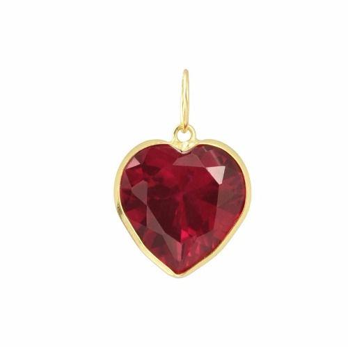 Pingente Coração 10mm Zircônia Vermelho Rubi Ouro 18k 750