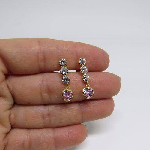 Brinco Três Marias Coração Rosa 6mm