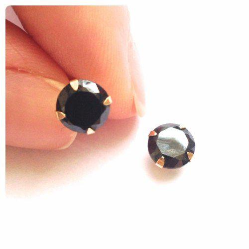Brinco Cálice 6mm Preto Onix Ouro 18k 750