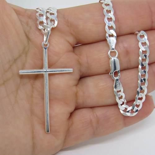 Corrente Cordão Grumet 60cm E Pingente Cruz Crucifixo Prata 925