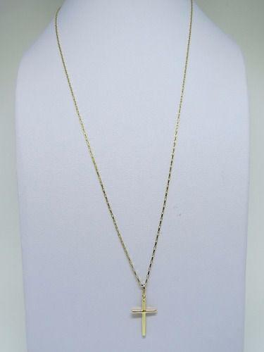 Cordão Corrente Masculina Ouro 70cm + Pingente Crucifixo Ouro 18k Cadeado