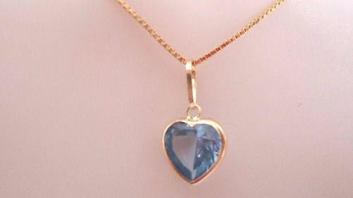 Gargantilha Corrente Colar Veneziana 50cm  Coração Azul Aquamarine Ouro 18k