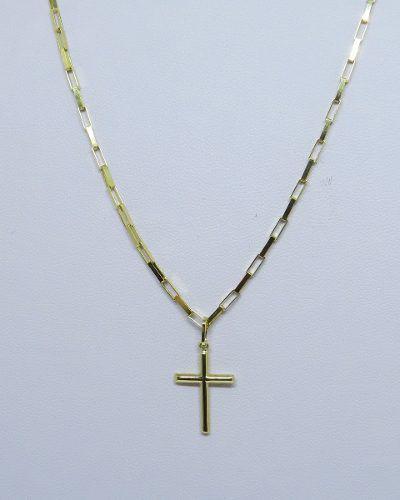 Cordão Corrente Masculina Ouro 60cm 2.7 Gr E Pingente Crucifixo Ouro 18k 750 Cadeado