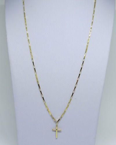 Cordão Corrente Masculina Ouro 70cm 3 Gr E Pingente Crucifixo Ouro 18k 750 Cadeado