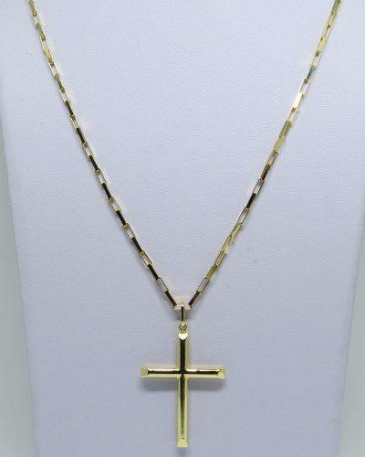 e432a3bbc01 ... Cordão Corrente Masculina Ouro 10 Gramas Maciça 60cm E Crucifixo 4.5cm Ouro  18k Cadeado ...