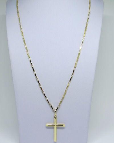 Cordão Corrente Masculina Ouro 10 Gramas Maciça 60cm E Crucifixo 4.5cm Ouro 18k Cadeado