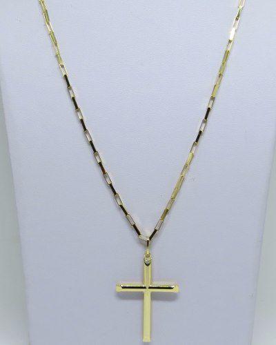 Cordão Corrente Masculina Grossa Ouro 11.7 Gr 70cm E Pingente Crucifixo Ouro 18k Cadeado