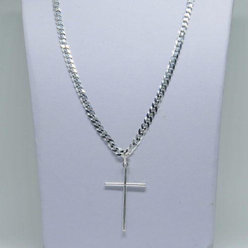 Corrente 70cm Masculina Grumet Pingente Crucifixo Prata 925