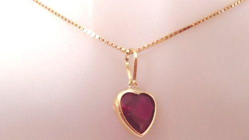 Cordão Corrente 70cm Pingente Coração Vermelho Rubi Ouro 18k 750