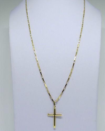 Cordão Corrente Masculina Ouro 70cm 7g Pingente Cruz Crucifixo Ouro 18k 750