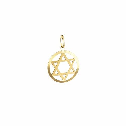 Pingente Estrela De Davi Círculo Ouro 18k 750