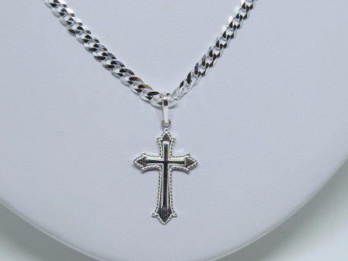 Corrente 70cm Pulseira e Pingente Crucifixo Prata 925