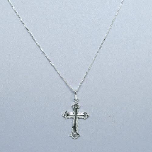 Cordão Corrente 80cm Veneziana Pingente Crucifixo Prata 925
