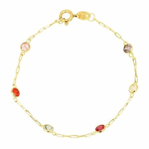 d158568b3b9 Pulseira Ouro 18k Com Pedras Coloridas - DR JOIAS