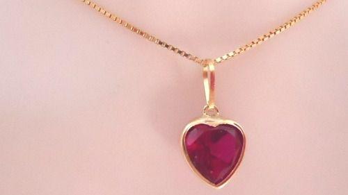 Cordão Colar Corrente Veneziana 50cm E Pingente Coração Vermelho Rubi Ouro 18k 750