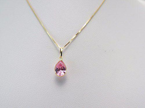 3bfa5991715f1 Gargantilha Colar 50cm Ponto De Luz Pingente Gota Rosa Em Ouro 18k ...