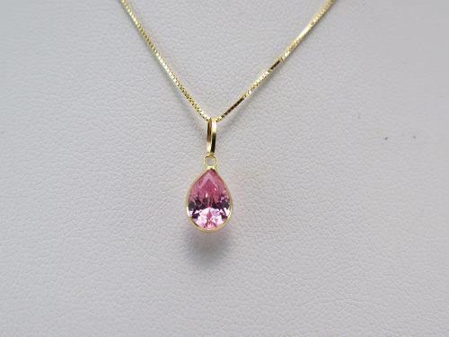 Gargantilha Colar 50cm Ponto De Luz Pingente Gota Rosa Em Ouro 18k 750