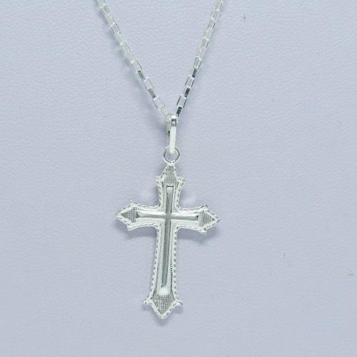 Corrente Cordão Masculino Prata 60cm E Crucifixo Prata 925 Cadeado